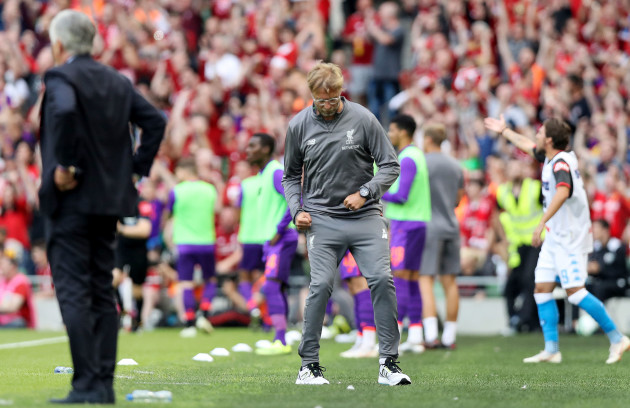 Jurgen Klopp reacts after his side scored