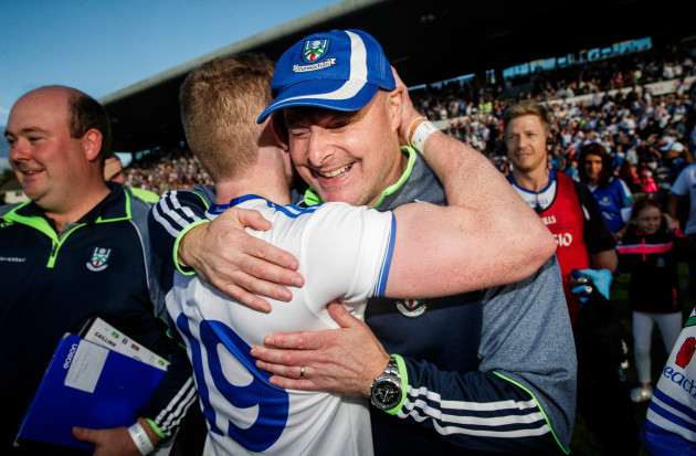 Malachy O'Rourke celebrates with Colin Walsh