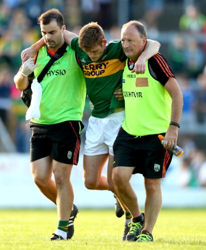 Gavin White leaves the field injured