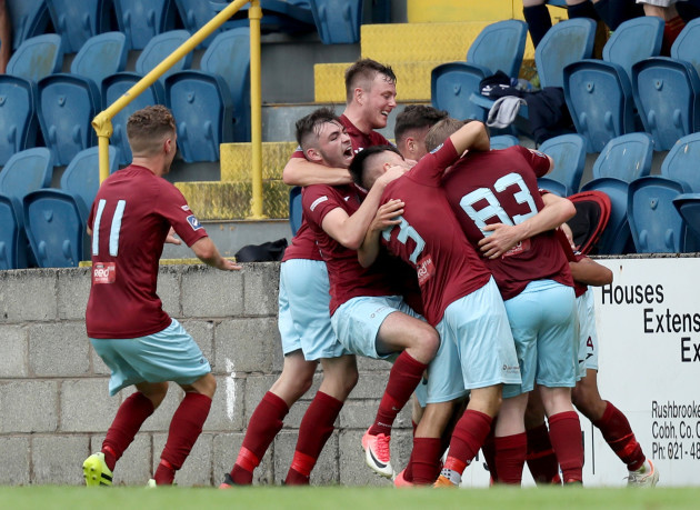 Cobh celebrate Christopher Hull's goal