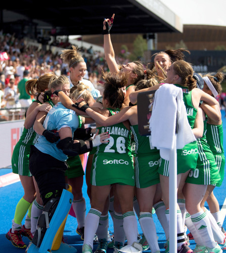 Ireland celebrate winning the shoot out