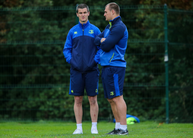 Jonathan Sexton and Rhys Ruddock
