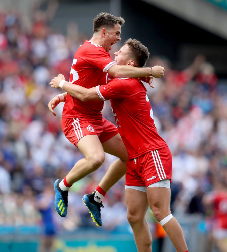 Michael McKernan and Ronan O'Neill celebrate after the game