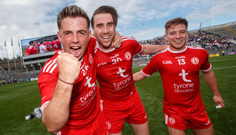 Ronan O'Neill, Conall McCann and Mark Bradley celebrates after the game