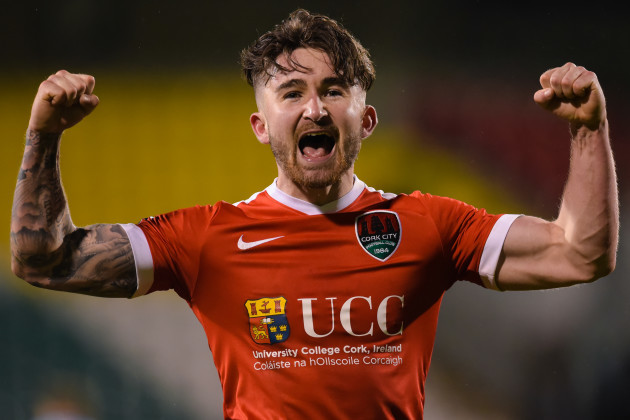 Sean Maguire celebrates at the final whistle