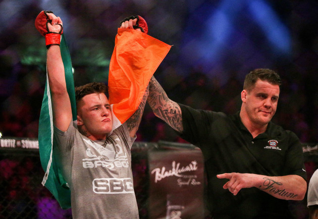 James Gallagher celebrates his victory
