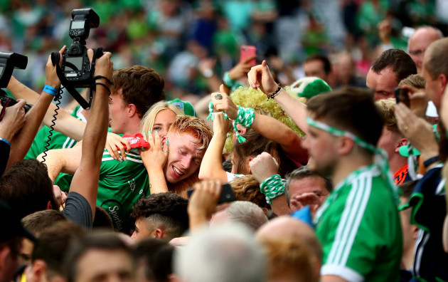 Cian Lynch celebrates with fans
