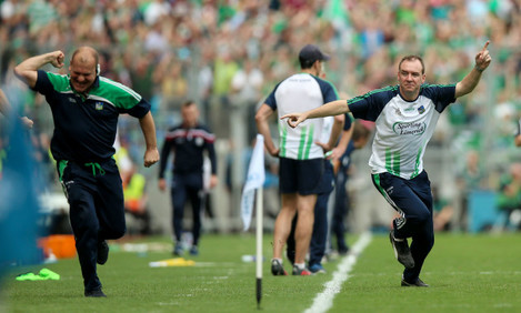 James Ryan and selector Jimmy Quilty celebrate a goal