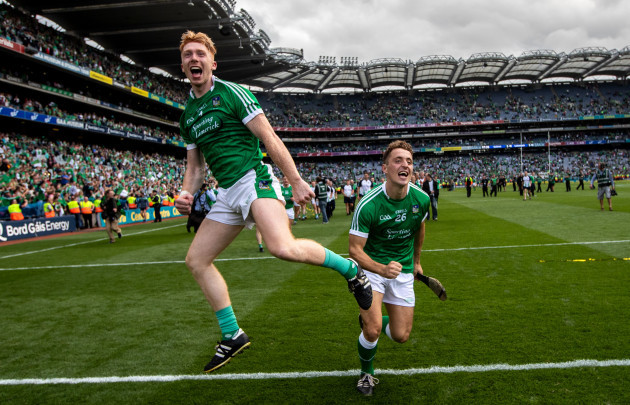 Cian Lynch and Pat Ryan celebrate in front of Hill 16