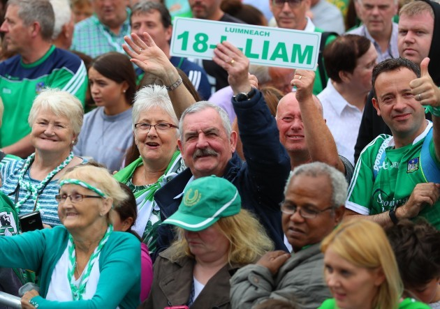 Crowds gather outside Limerick Colbert railway station to welcome home the Limerick team