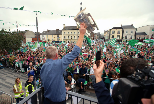 John Kiely lifts the Liam MacCarthy Cup