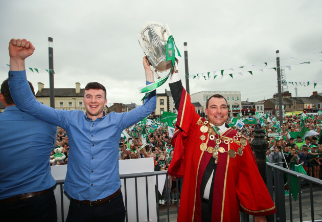 Declan Hannon and James Collins with the Liam MacCarthy Cup Cup