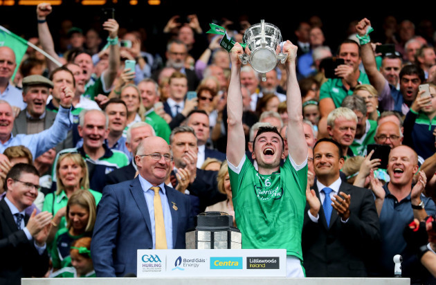 Declan Hannon lifts the Liam MacCarthy Cup