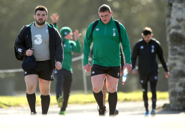 Marty Moore and Tadhg Furlong arrive for training