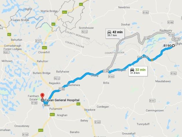 map of route ambulance