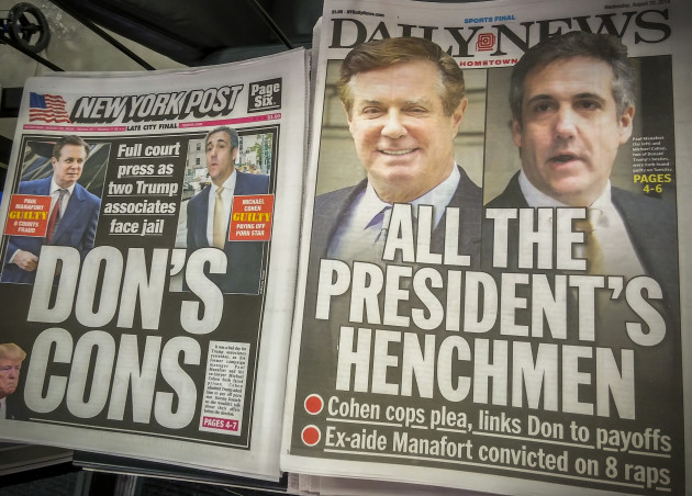 NY: New York papers report travails of Paul Manafort and Michael Cohen