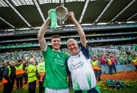 Declan Hannon and manager John Kiely celebrate with the Liam MacCarthy