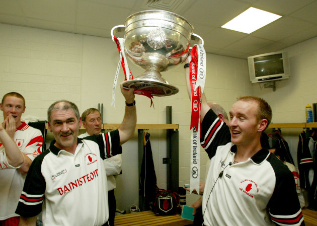 Mickey Harte and Paddy Tally with the Sam Maguire