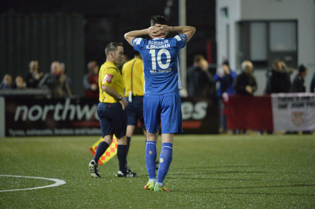 Killian Brennan dejected after the game
