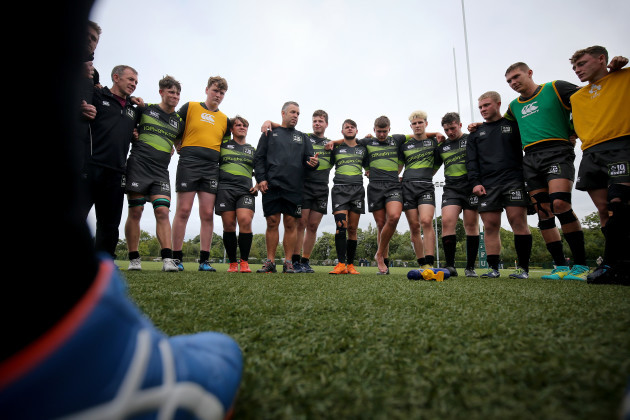 A view of the Irish Qualified Rugby team huddle after the game