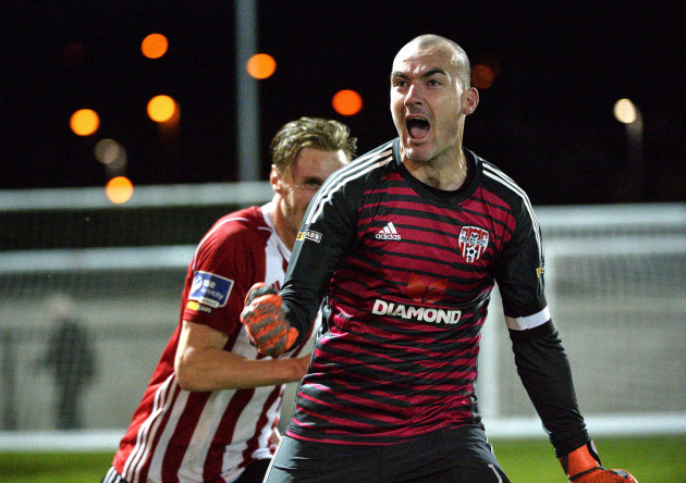 Gerard Doherty celebrates saving a last minute penalty