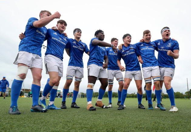Leinster players celebrate after the game