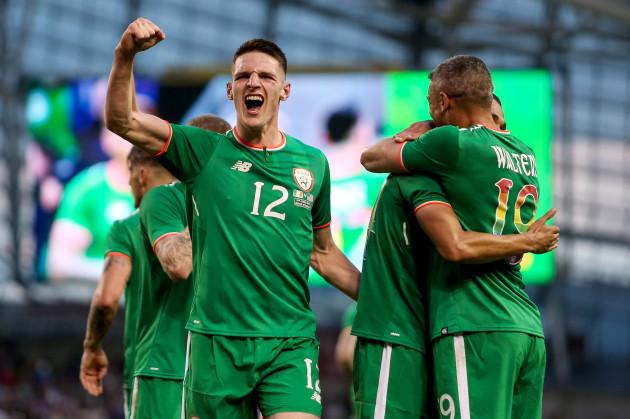 Declan Rice celebrates Graham Burke's goal