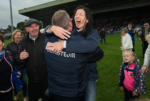 Liam Cahill celebrates at the final whistle with his wife Eimear