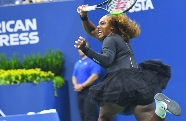 NY: Serena Williams (USA) in first round US Open action against Magda Linette (POL)