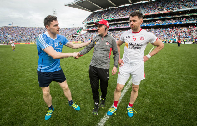 Paddy Andrews with Mickey Harte and Matthew Donnelly