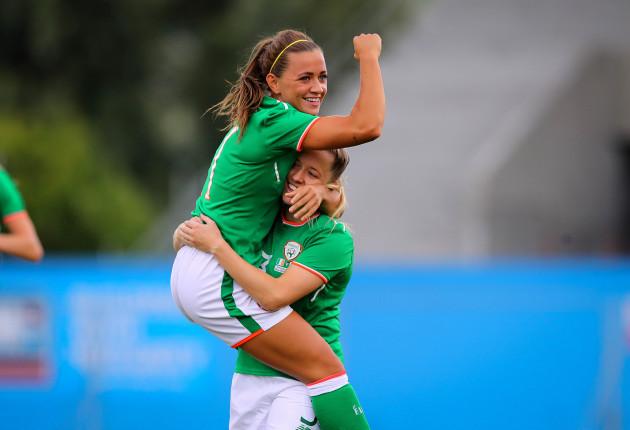 Katie McCabe celebrates scoring with Harriet Scott