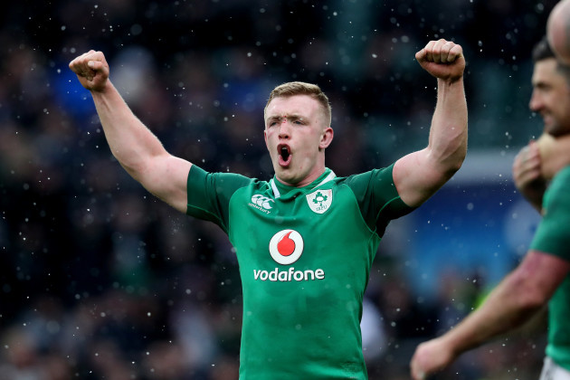 Ireland's  Dan Leavy celebrates after the match