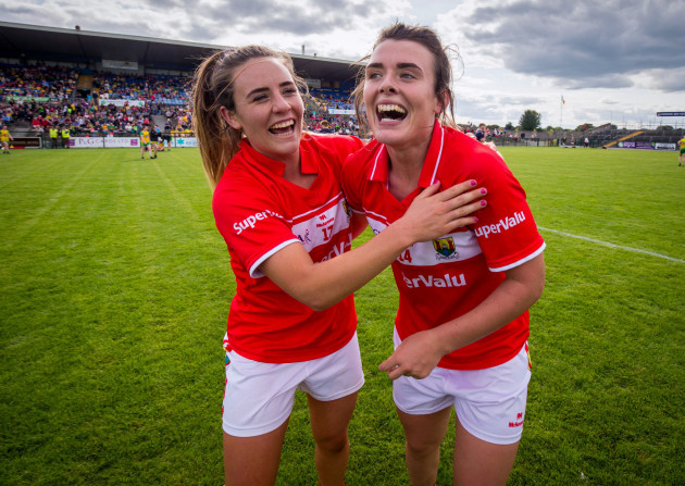 Orlagh Farmer and Doireann O'Sullivan celebrate after the game
