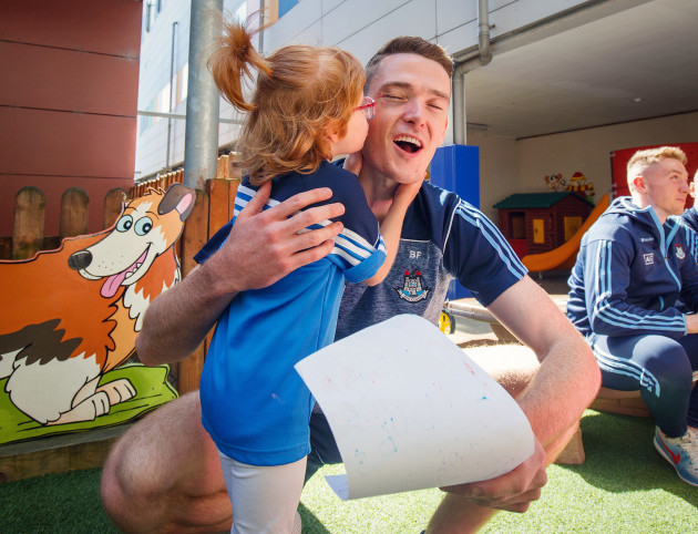 Brian Fenton is given a drawing by Zoe Lonergan