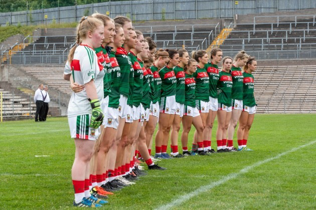 A view of the Mayo ladies football team before the game