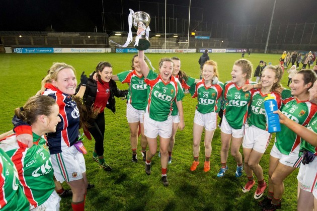 Erina Flannery celebrates with the cup after the game
