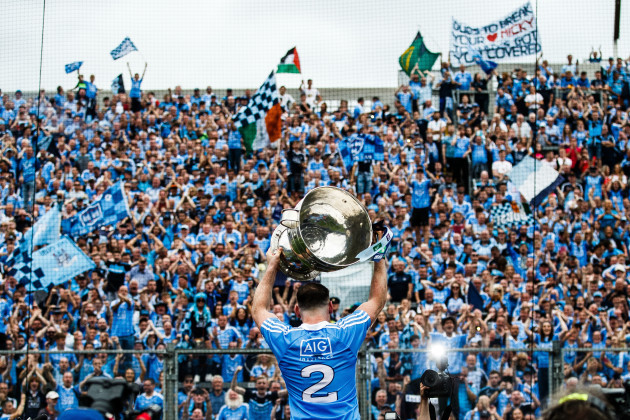 Philip McMahon celebrates after the game with the Sam Maguire