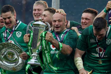 Ireland's Rory Best celebrates winning the grand slam