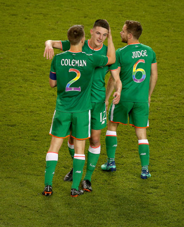 Declan Rice, Seamus Coleman and Alan Judge after the game