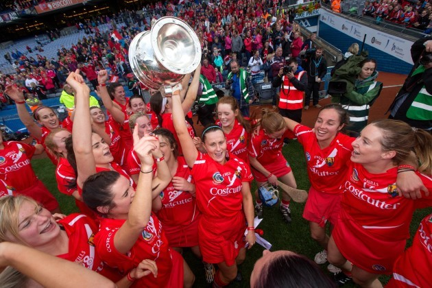Goalkeeper Aoife Murray celebrates with the O'Duffy Cup