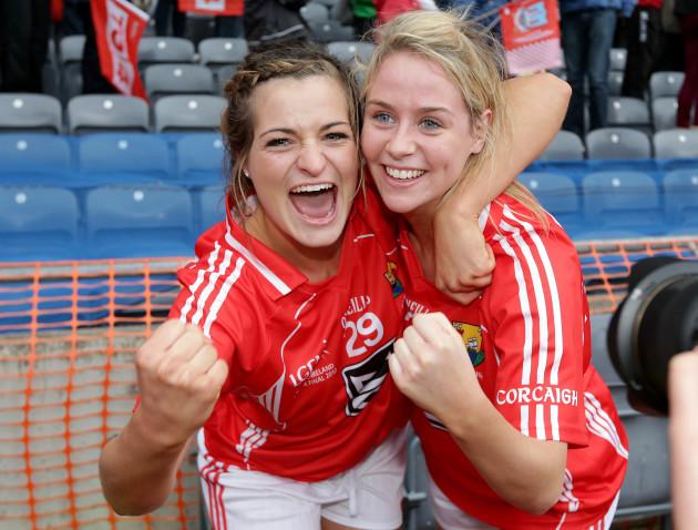 Sarah Harrington and Orla Finn celebrate