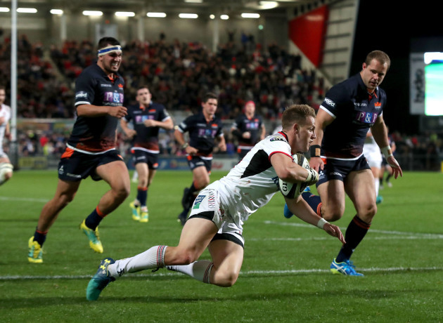 Craig Gilroy on his way to scoring a try