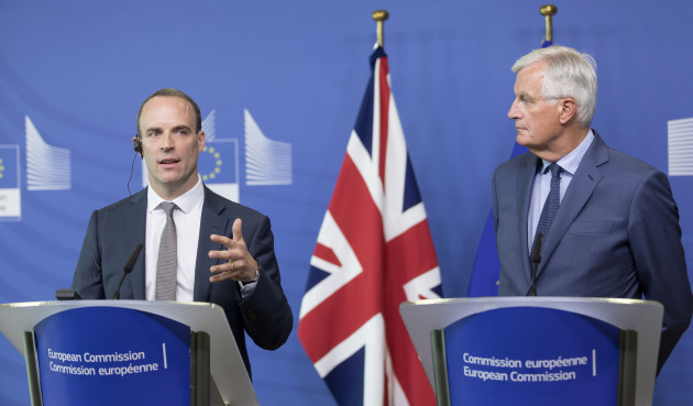 Michel Barnier And Dominic Raab Press Conference - Brussels