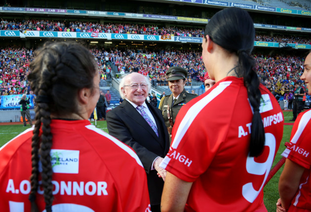 Ashling Thompson with President of Ireland Michael D Higgins