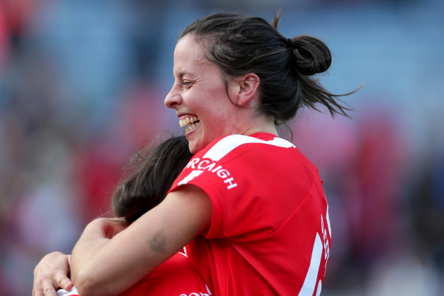 Orla Cotter celebrates with Hannah Looney