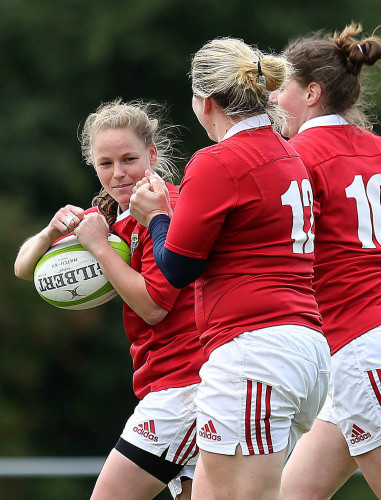 Niamh Briggs celebrates her try with Nicole Cronin