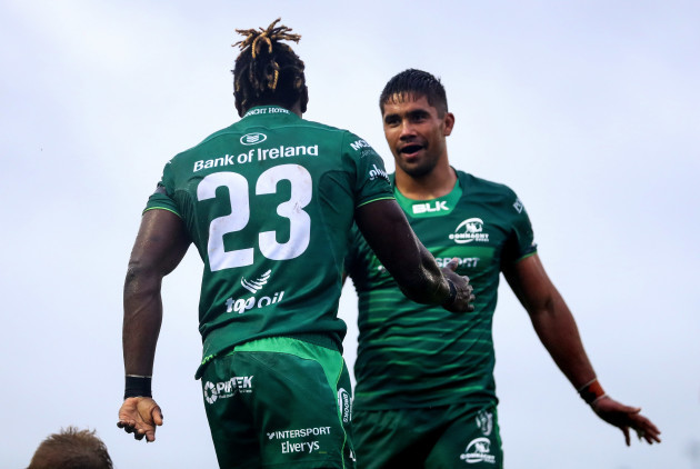Niyi Adeolokun celebrates his try with Jarrad Butler