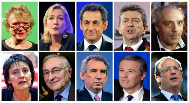 From top left, Environmental candidate Eva Joly, far-right candidate Marine le Pen, conservative and current President Nicolas Sarkozy, leftist candidate Jean-Luc Melenchon, anti-capitalist candidate Philippe Poutou, Nathalie Artaud of the Workers' Struggle movement, independent Jacques Cheminade, centrist Francois Bayrou, Gaullist Nicolas Dupont-Aignan and Socialist Party candidate Francois Hollande.