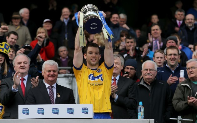 Niall Carty lifts the division two trophy