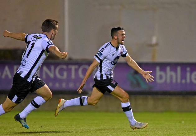 Michael Duffy celebrates scoring their first goal